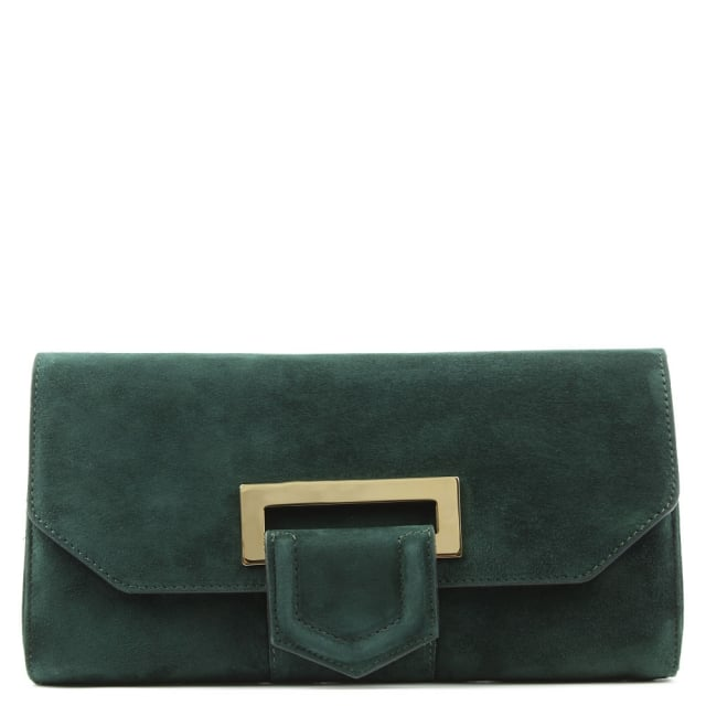 Summery Green Suede Clutch Bag