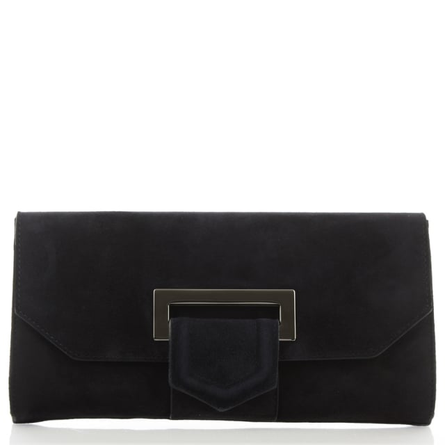 Summery Navy Suede Clutch Bag
