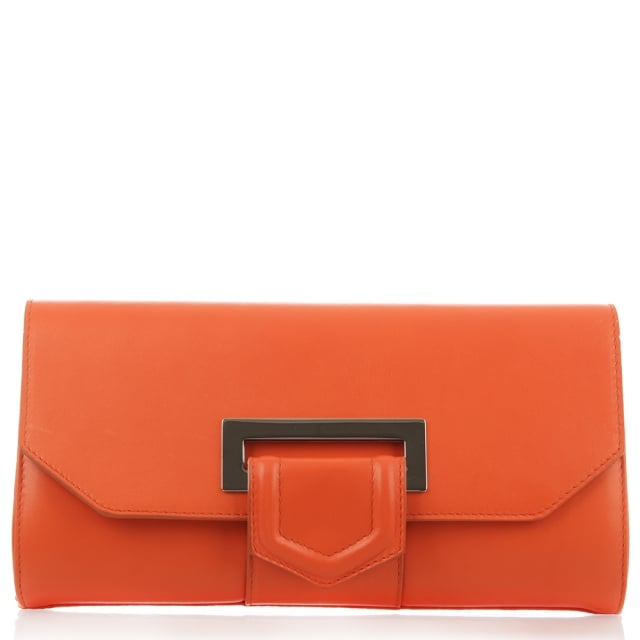 Summery Orange Leather Clutch Bag