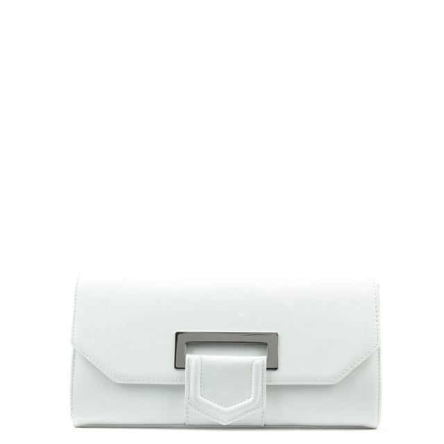 Summery White Leather Clutch Bag