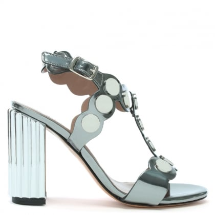 Sunbury Pewter Metallic Leather Studded Sandals