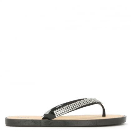 Sunflowers Black Crystal Toe Post Flip Flop