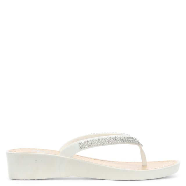 963eb74e1 DF By Daniel Sunny White Crystal Toe Post Wedge Flip Flops