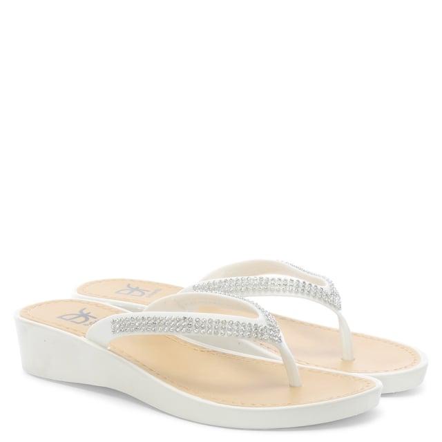 e8cc3140c631 DF By Daniel Sunny White Crystal Toe Post Wedge Flip Flops
