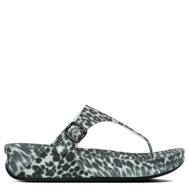 Superjelly Black & White Leopard Rubber Flip Flop