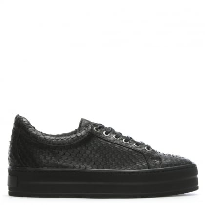 Suri Black Leather Reptile Flatform Trainers