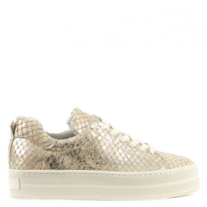Suri Gold Leather Reptile Flatform Trainer