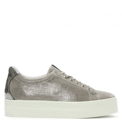Suri Grey Leather Reptile Flatform Trainer