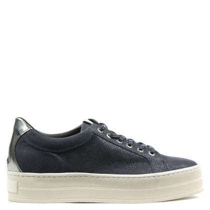 Suri Navy Leather Reptile Flatform Trainer