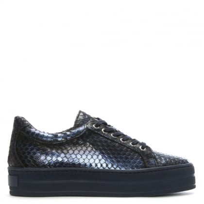 Suri Navy Leather Reptile Flatform Trainers