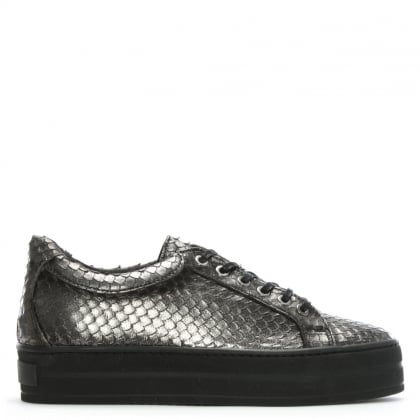 Suri Pewter Leather Reptile Flatform Trainers