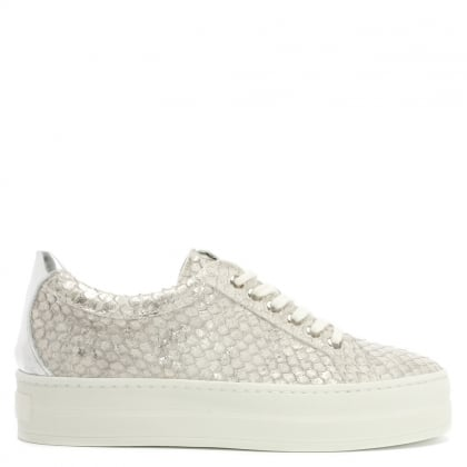 Suri Silver Leather Reptile Flatform Trainers