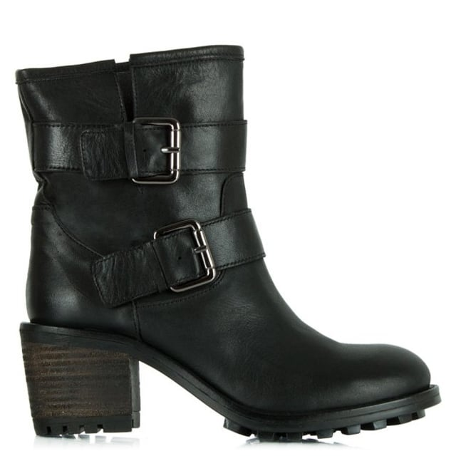 Surprised Black Leather Biker Heeled Ankle Boot