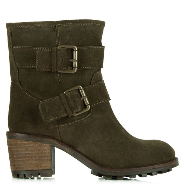 Surprised Khaki Suede Biker Heeled Ankle Boot