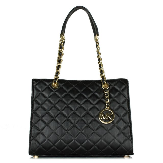 Susannah Medium Black Leather Quilted Tote