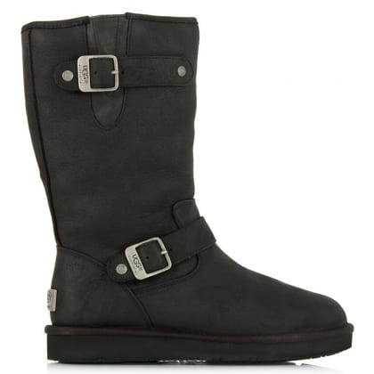 Sutter Black Leather Sheepskin Calf Boot