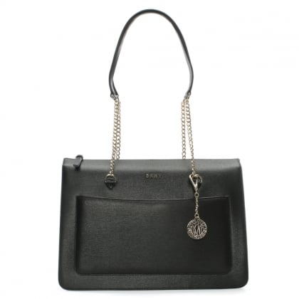Sutton Black Leather Top Zip Tote Bag