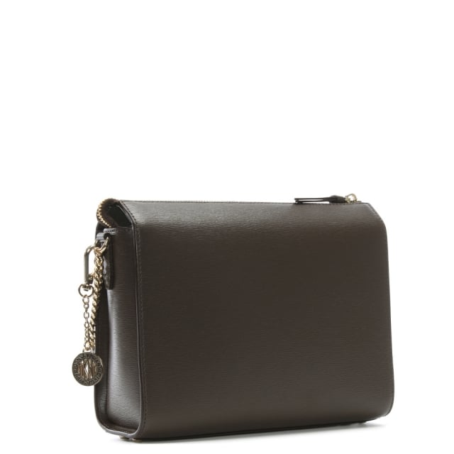 a7d59f574cc7 DKNY Sutton Brown Leather Box Cross-Body Bag