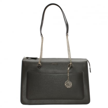 Sutton Brown Leather Top Zip Tote Bag