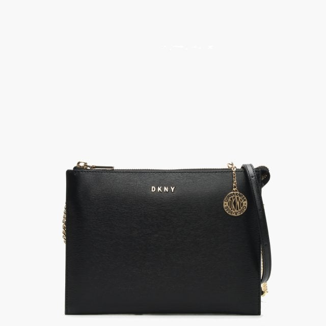 6a9ca98f48c DKNY Sutton Flat Black Leather Top Zip Cross-Body Bag
