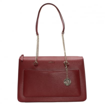 Sutton Scarlet Leather Top Zip Tote Bag