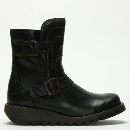 Sven Black Leather Low Wedge Buckled Ankle Boots