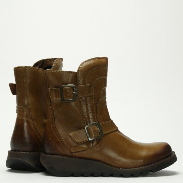 9c71c651 Fly London Sven Camel Leather Low Wedge Buckled Ankle Boots