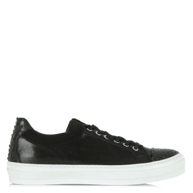 Svenja Black Leather Lace Up Trainer