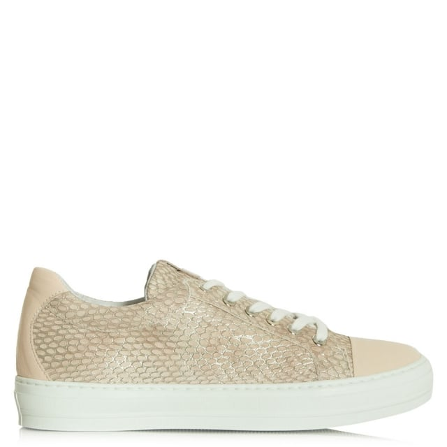 Svenja Pink Reptile Leather Lace Up Trainer