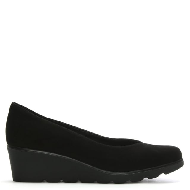 Sweeper Black Suede Low Wedge Court Shoes