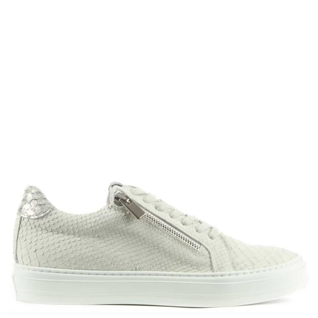 Sweets Beige Leather Reptile Lace Up Trainer
