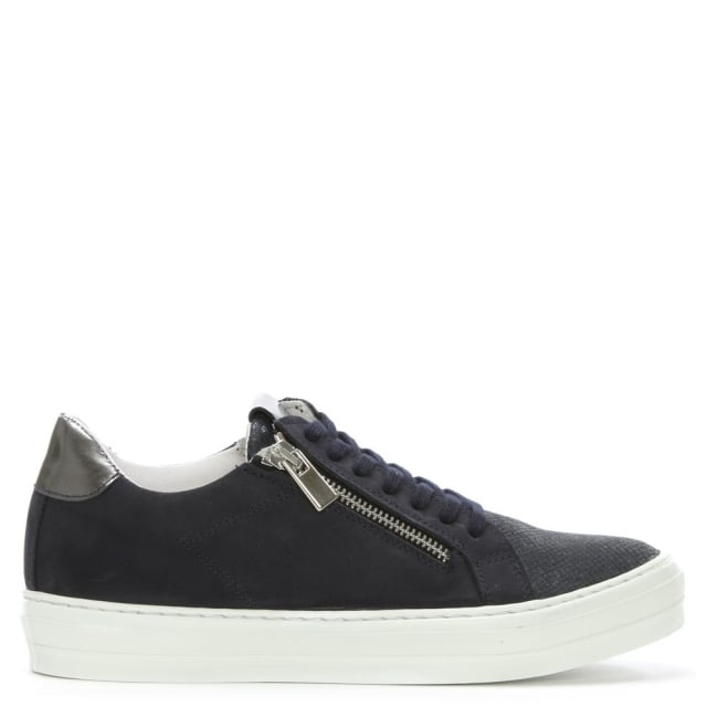 Sweets Navy Suede Reptile Lace Up Trainer