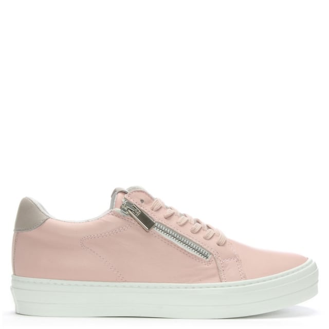 Sweets Pink Leather Lace Up Trainers