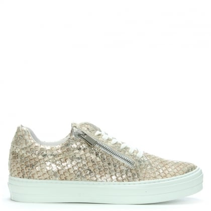Sweets Silver Leather Reptile Lace Up Trainers