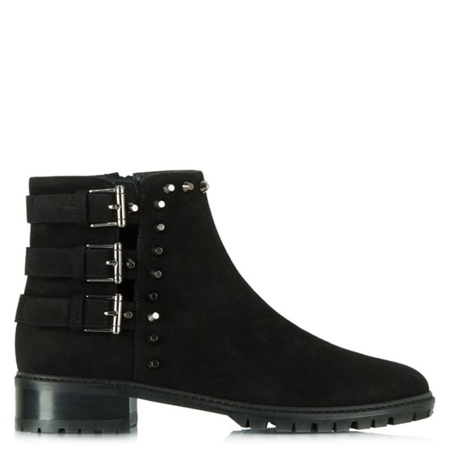Tackle Black Suede Studded Ankle Boot