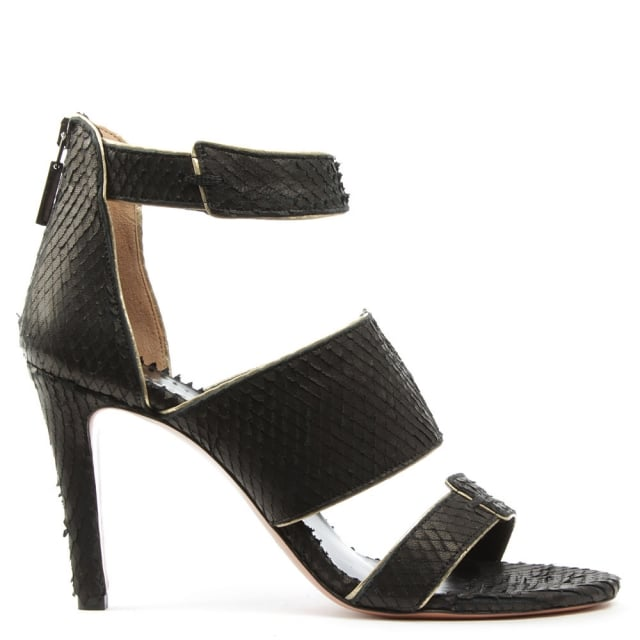 Tailor Black Leather Reptile Gold Trim Sandal