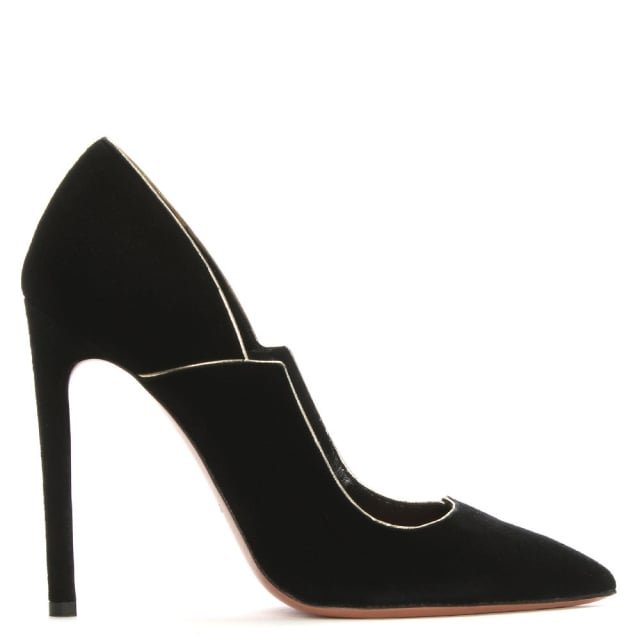Tailor Black Suede Gold Trim Court Shoes