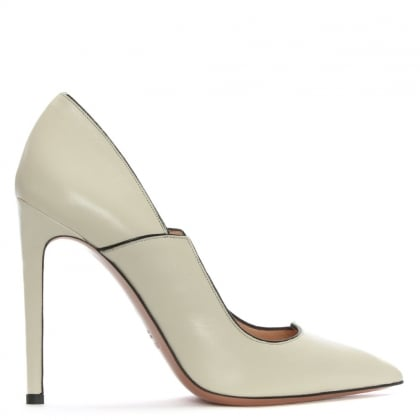 Tailor White Leather Black Trim Court Shoes