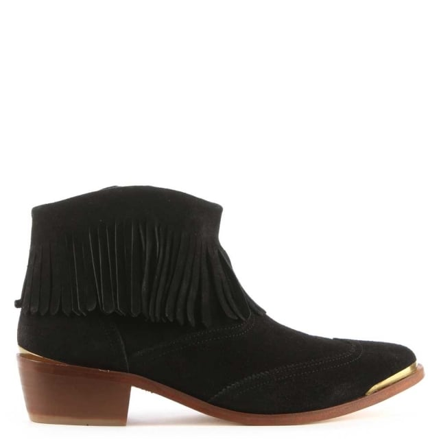 tala-black-suede-fringe-western-ankle-boot