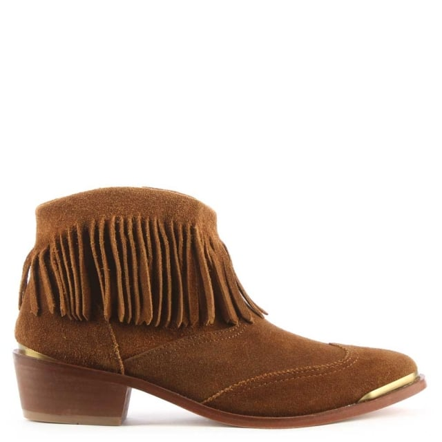 Tala Tan Suede Fringe Western Ankle Boot