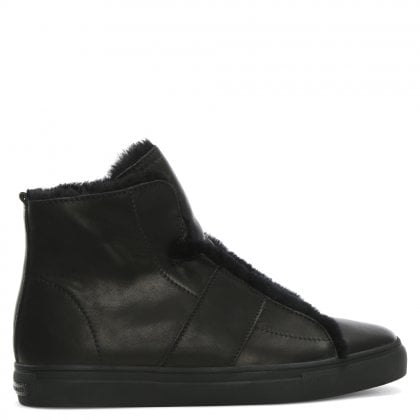 Talbot Black Leather High Top Trainers
