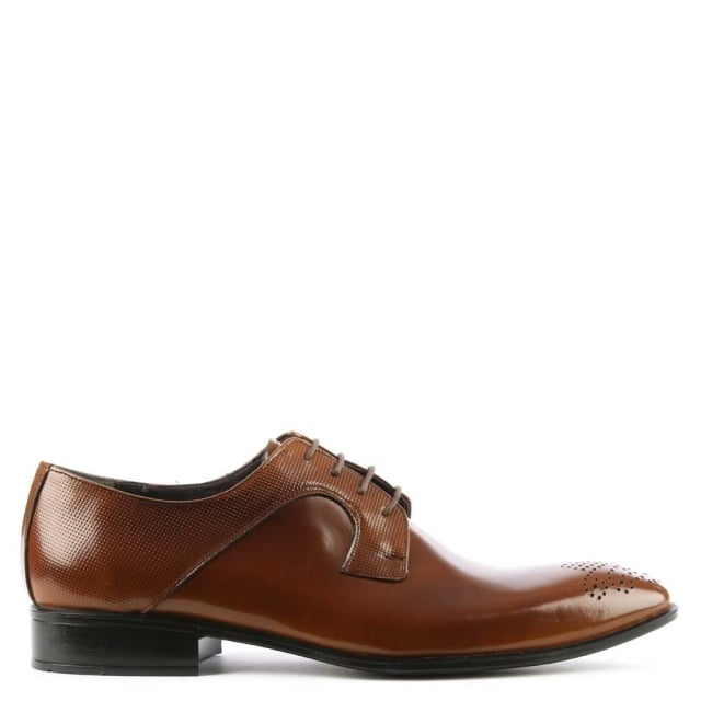 Tan Gloss Leather Lace Up Dress Shoe