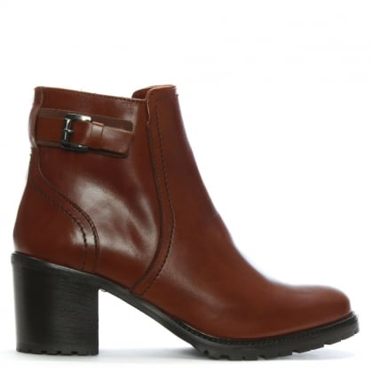Tan Leather Block Heel Ankle Boots