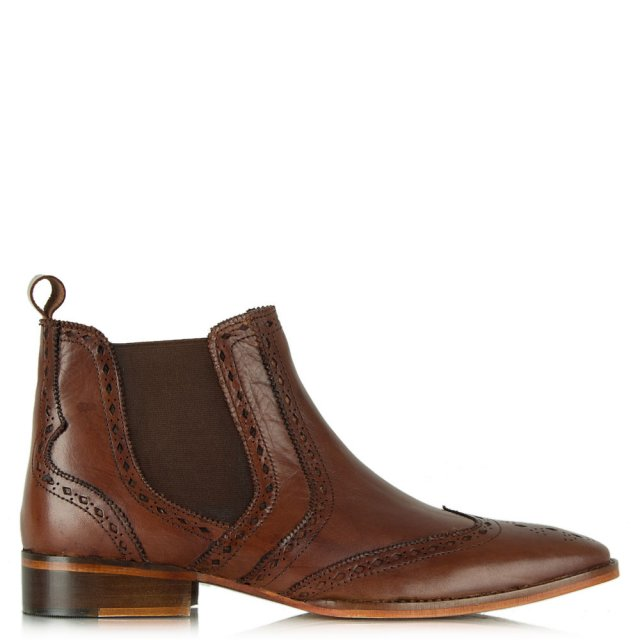 Tan Leather Brogue Chelsea Boot
