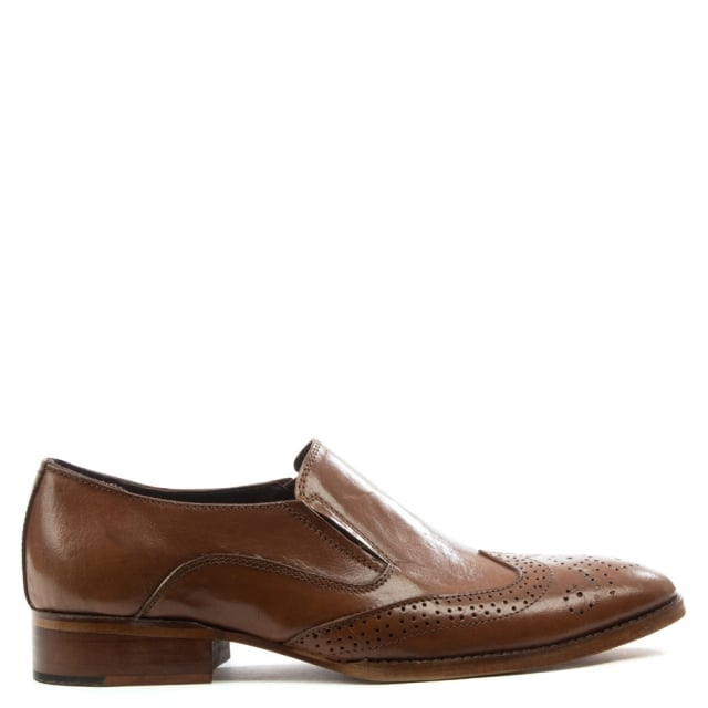 Tan Leather Brogue Loafer