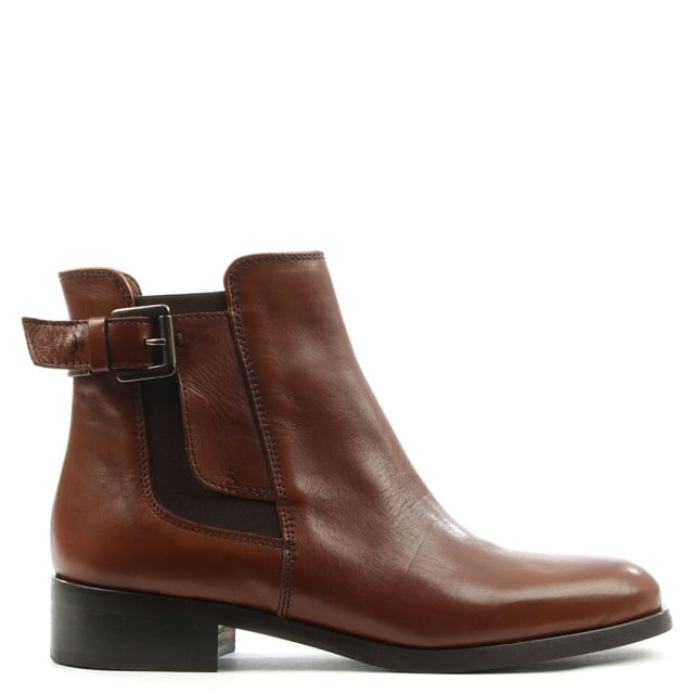 Tan Leather Buckled Chelsea Boot