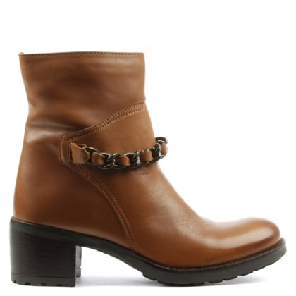 Manas Tan Leather Chain Front Ankle Boot