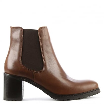 Tan Leather Chunky Heel Chelsea Boot