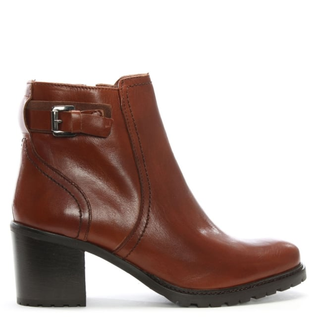 Tan Leather Chunky Mid Heel Ankle Boots