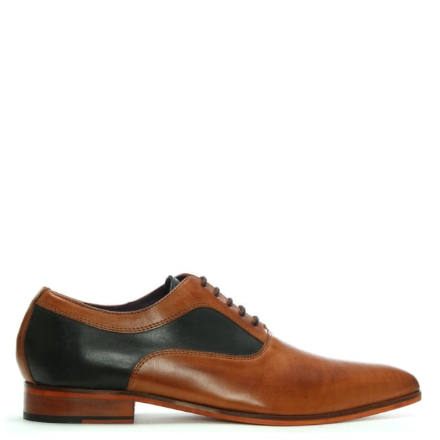 Gucinari Tan Leather Contrast Lace Up Shoes
